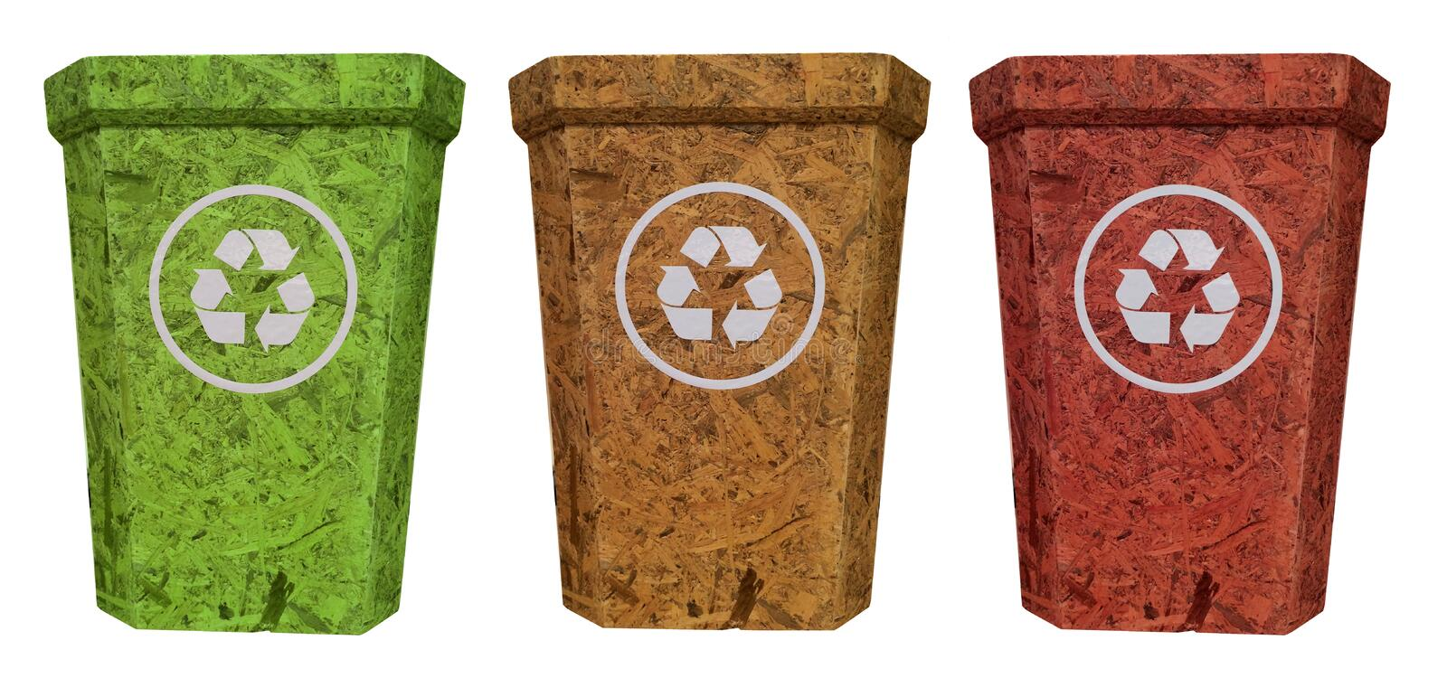 Red yellow green recycle bin from cork wood. Red yellow recycle bin from cork wood for safety environment vector illustration