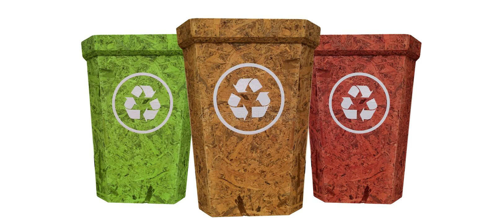 Red yellow green recycle bin from cork wood texture on isolate stock images