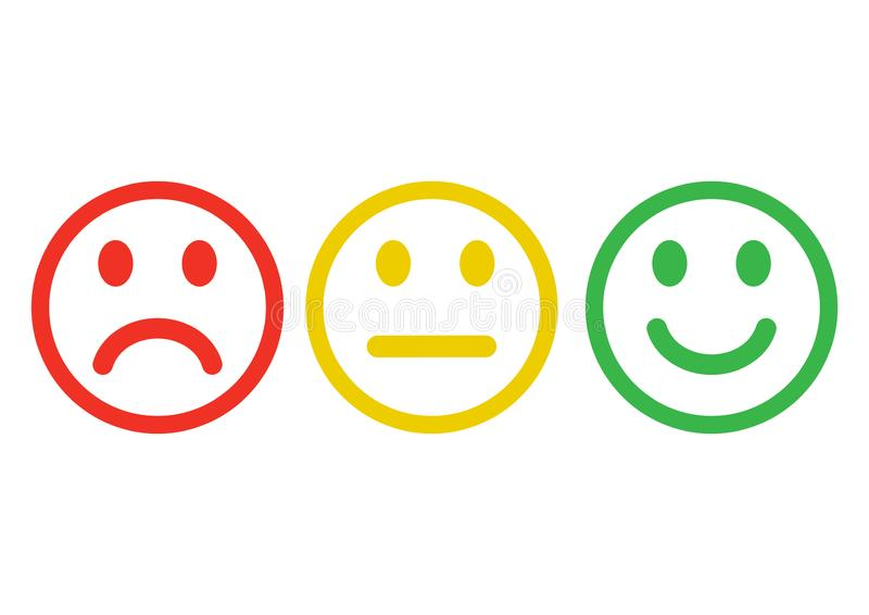 Red, yellow, green smileys emoticons icon negative, neutral and positive, different mood. Outline design. Vector. Illustration stock illustration