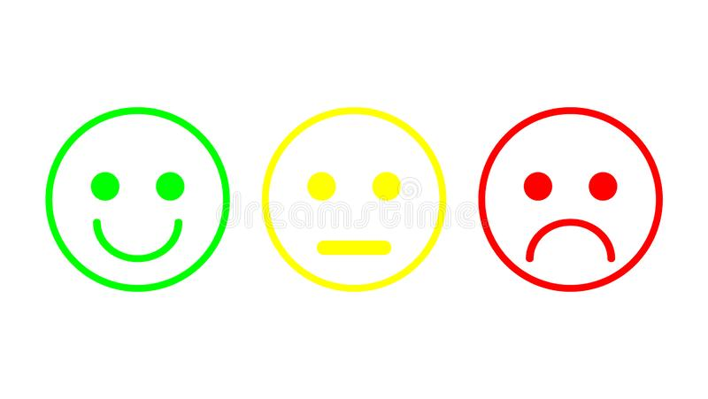 Red, yellow, green smileys emoticons icon negative, neutral and positive, different mood. Outline design. Vector illustration stock illustration