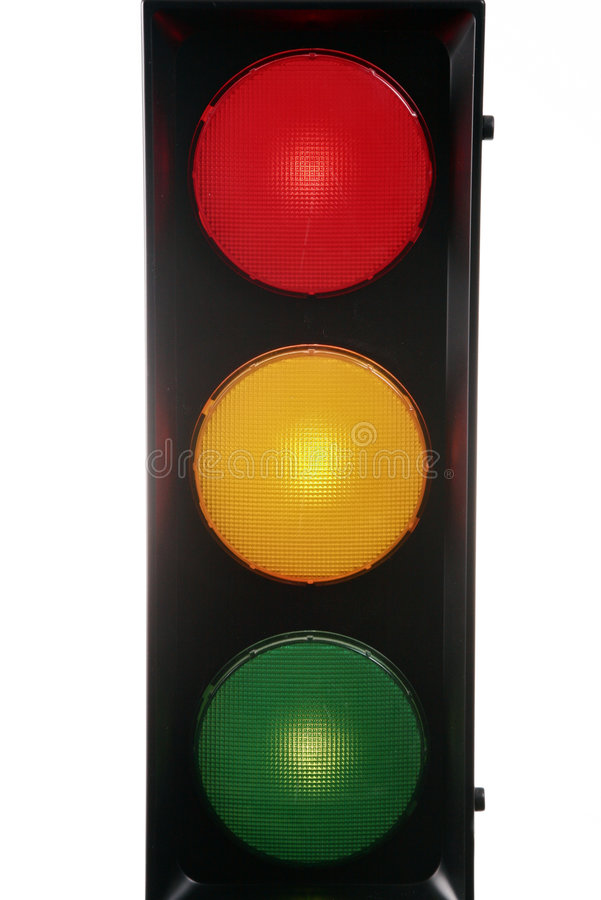 Red yellow green traffic light stock images