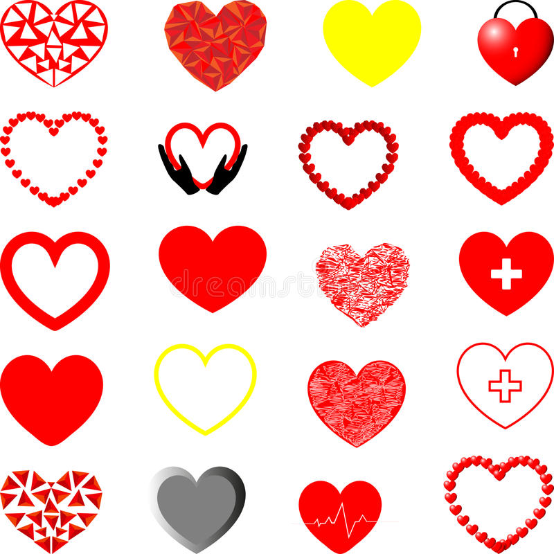 Red, yellow and grey hearts different shape. Red, yellow and grey hearts different shape - set for Valentine day or for medicine royalty free illustration