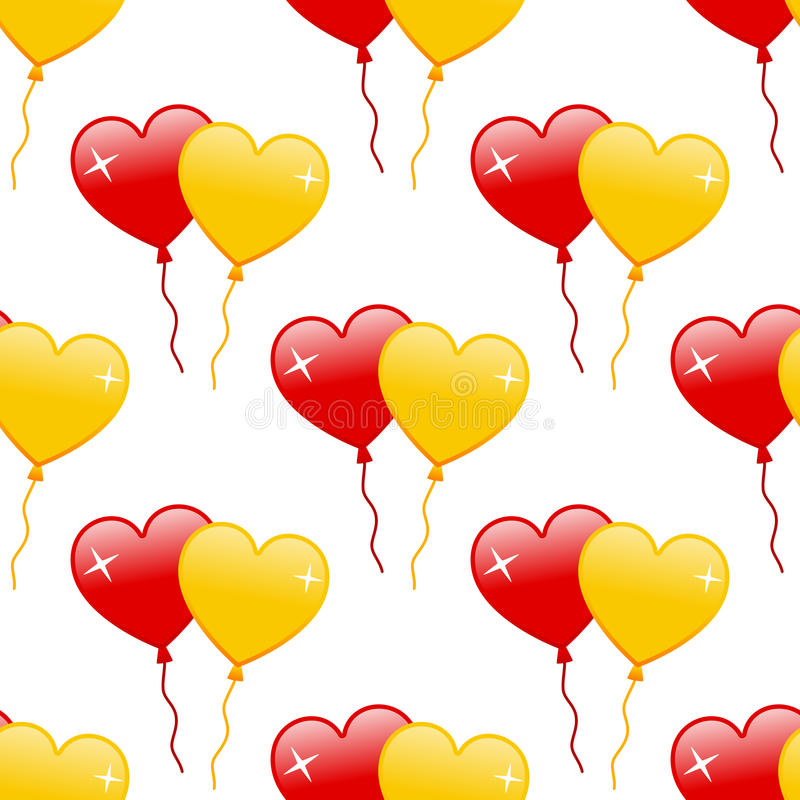 Red & Yellow Heart Balloons Seamless vector illustration