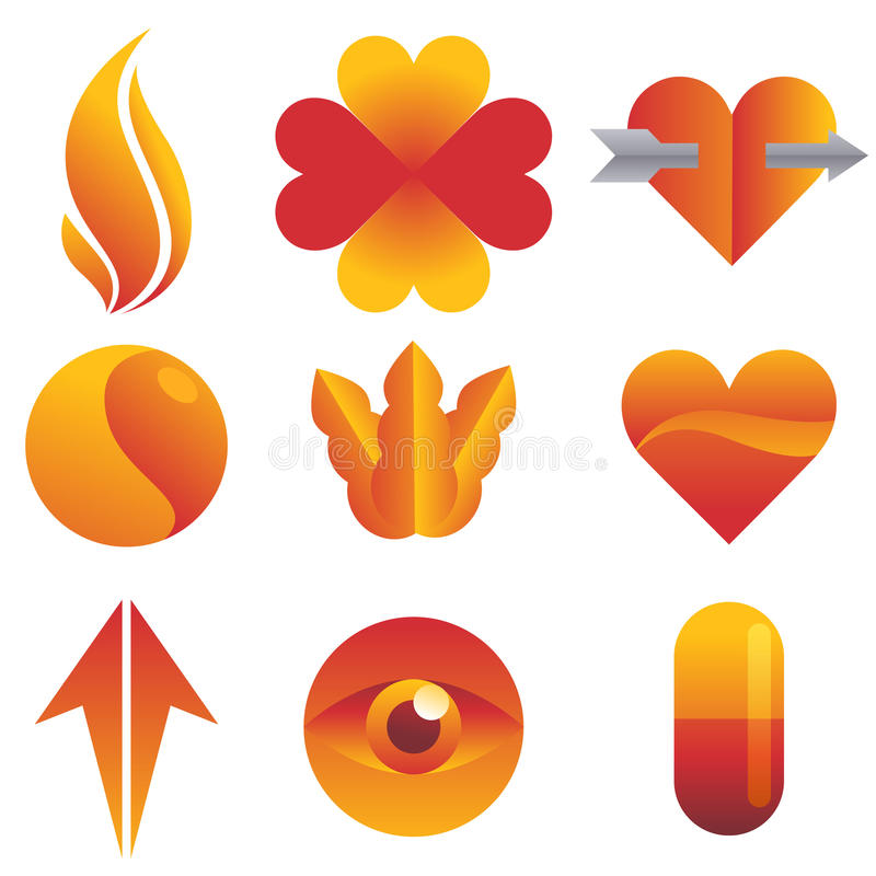 Red and yellow Icon set stock illustration