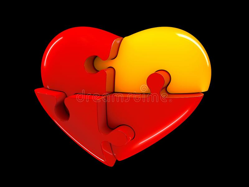 Red and yellow jigsaw puzzle heart diagram 3d illustration isolated on black background.  stock photography