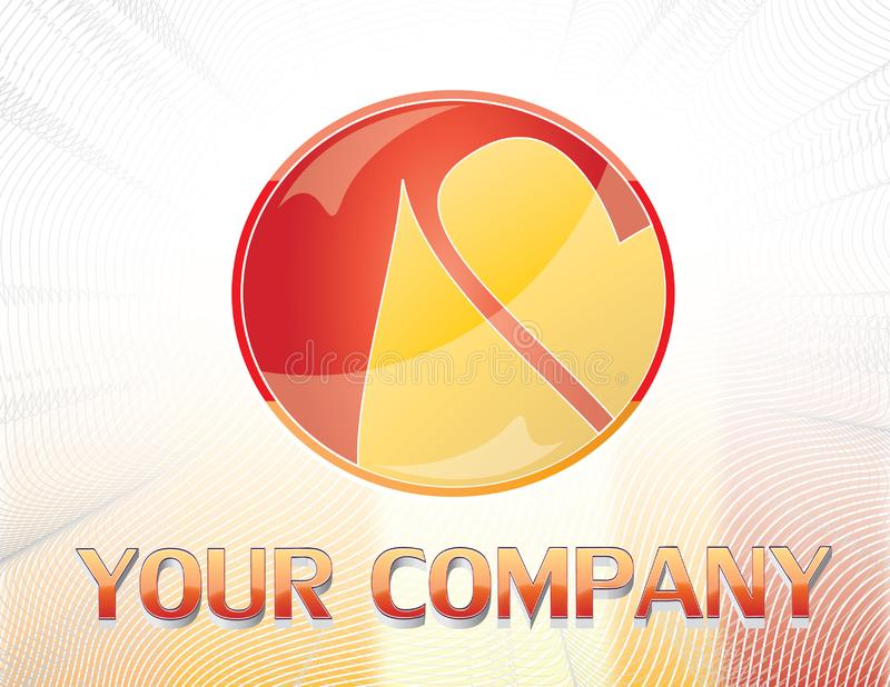 Red and yellow logo stock photo