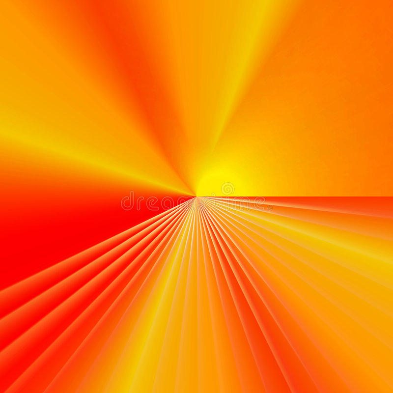 Red, yellow, orange background. Red, orange, yellow background with radial lines and sectors emanating from a single central point stock illustration