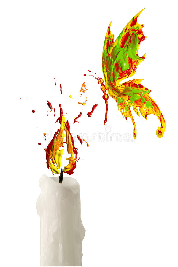 Red yellow paint flame on the candle and butterfly flying above. Red yellow paint flame on the candle and red green butterfly flying above royalty free illustration