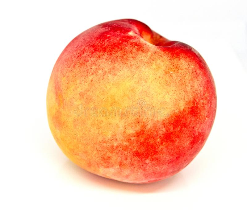 Red yellow peach isolated stock photo