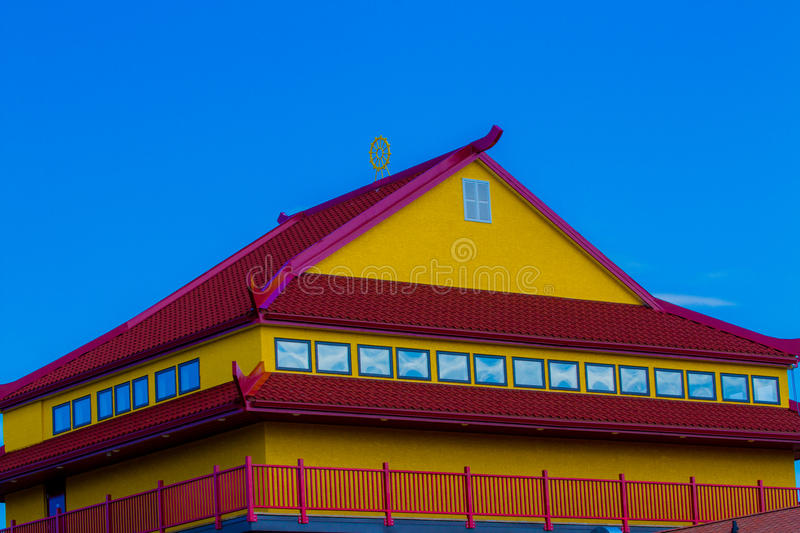 Red and Yellow rooftop stock photo