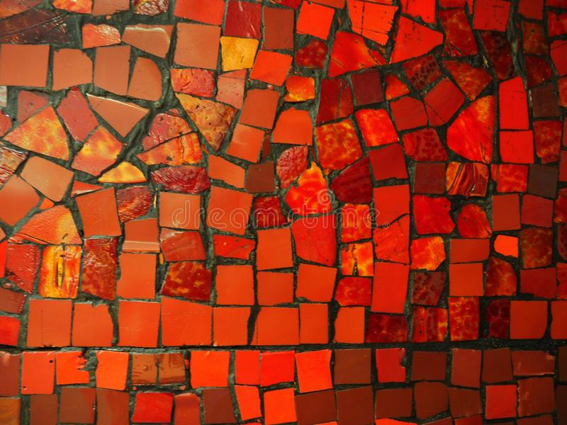 Red and yellow stone mosaic. Red and yellow stone abstract mosaic stock photo