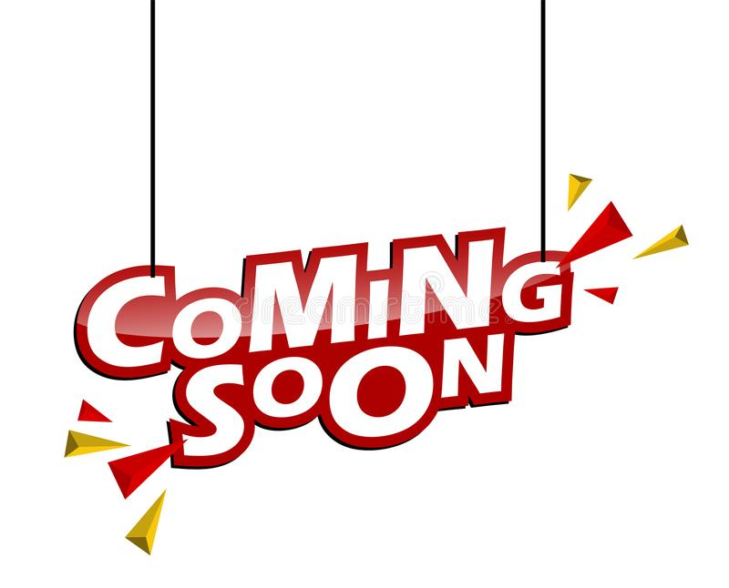 Red and yellow tag coming soon stock illustration