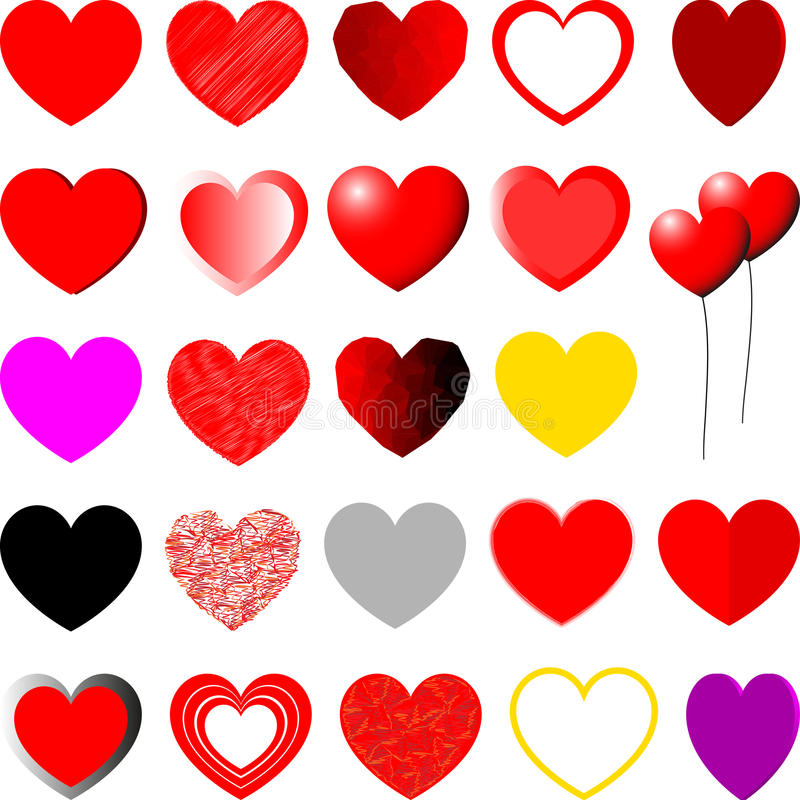 Red, yellow, violet and grey hearts - set. Red, yellow, violet and grey hearts different shape - set royalty free illustration