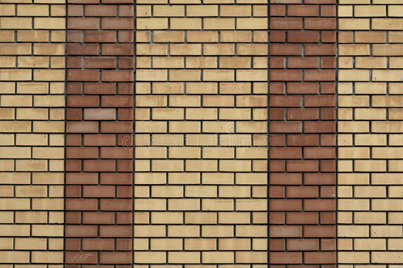 Red Yellow Wall Background. Old Grungy Brick Wall Horizontal Texture. Brickwall Backdrop. Stonewall Wallpaper. Vintage Wall With royalty free stock photography