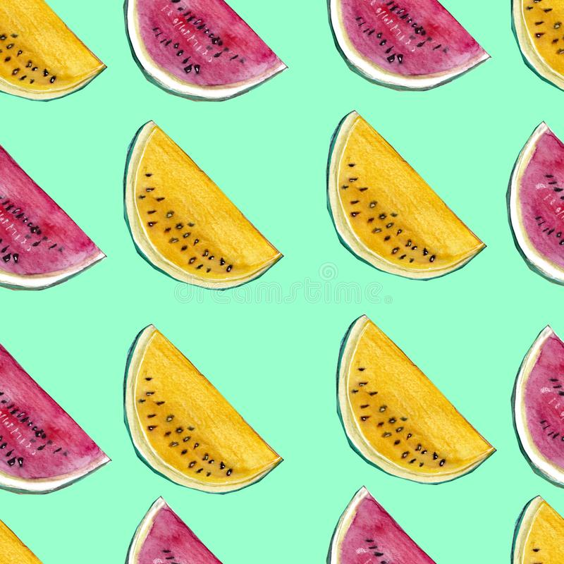 Red and yellow watermelons summer seamless pattern royalty free stock photos