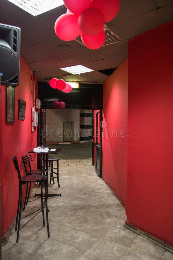 Red zone district club, Brothel entrance. Red light club royalty free stock images