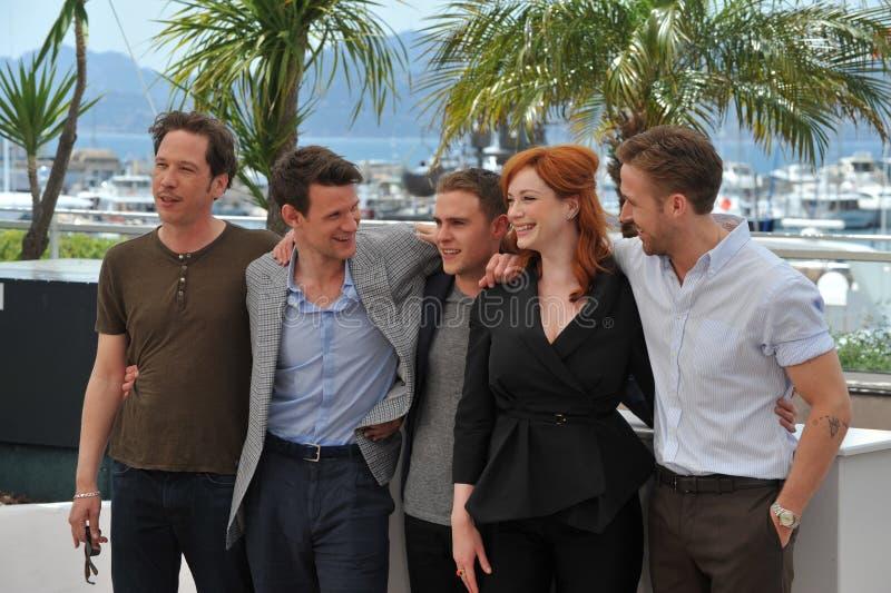 Reda Kateb & Matt Smith & Ian De Caestecker & Christina Hendricks & Ryan Gosling royaltyfria foton