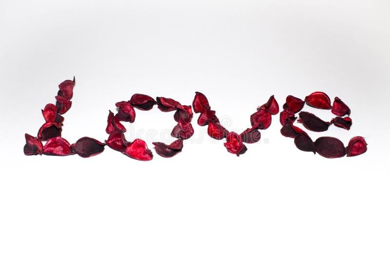 Redacte el amor presentado de las flores artificiales en un fondo blanco imagenes de archivo