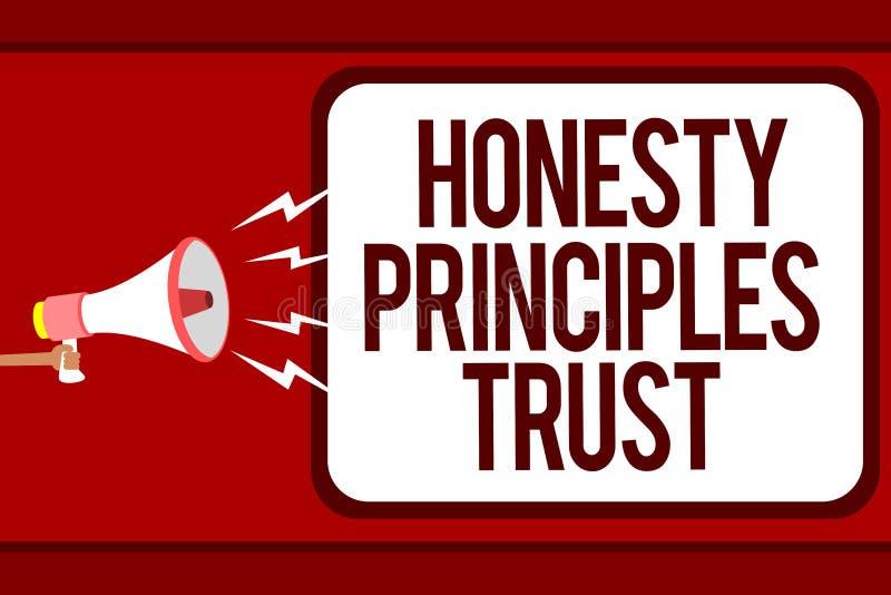 Redacte el concepto del negocio de confianza de los principios de la honradez del texto de la escritura para creer alguien las pa libre illustration
