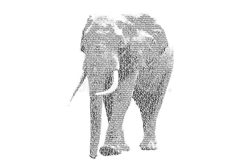 Download Redacte El Elefante Mezclado Para Ser Figura Del Elefante, Con El St De La Tipografía Stock de ilustración - Ilustración de aislado, colorante: 41902084