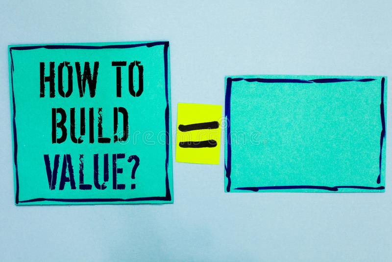Redacte el texto de la escritura cómo construir la pregunta del valor Concepto del negocio para las maneras para desarrollar el c fotos de archivo