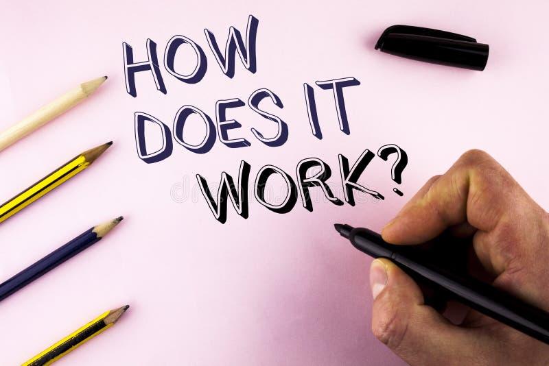 Redacte el texto de la escritura cómo trabaja la pregunta Concepto del negocio para preguntar por el tutorial de la operación del fotografía de archivo