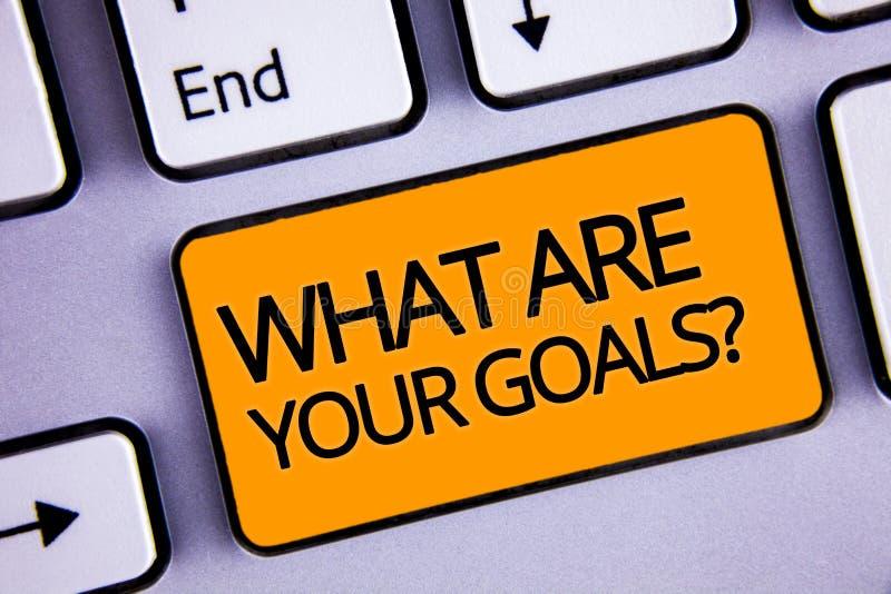 Redacte el texto de la escritura cuáles son su pregunta de las metas El concepto del negocio para preguntar a alguien acerca de s fotografía de archivo libre de regalías