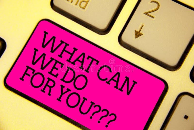 Redacte el texto de la escritura qué puede nosotros hacer para usted la pregunta de la pregunta de la pregunta El concepto del ne fotos de archivo