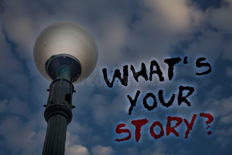 Redacte el texto de la escritura qué \ 'S su pregunta de la historia Concepto del negocio para pedir que alguien me diga sobre sí imagen de archivo