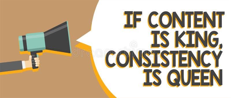 Redacte el texto si el contenido es rey, consistencia de la escritura es reina Concepto del negocio para el hombre de la persuasi fotos de archivo libres de regalías