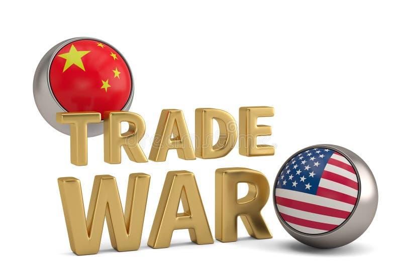 Redacte la guerra comercial con Estados Unidos y la bandera china aislados en w ilustración del vector