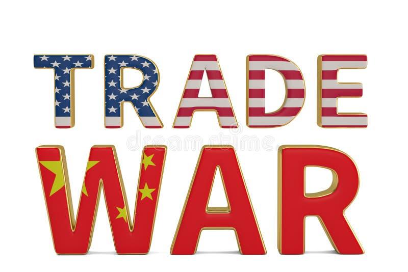Redacte la guerra comercial con Estados Unidos y la bandera china aislados en w stock de ilustración