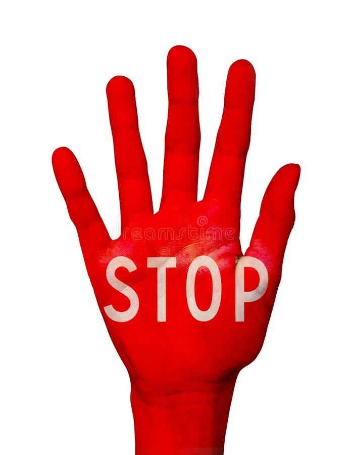 Redacte la parada escrita en una palma de la mano coloreada en rojo, en blanco imágenes de archivo libres de regalías