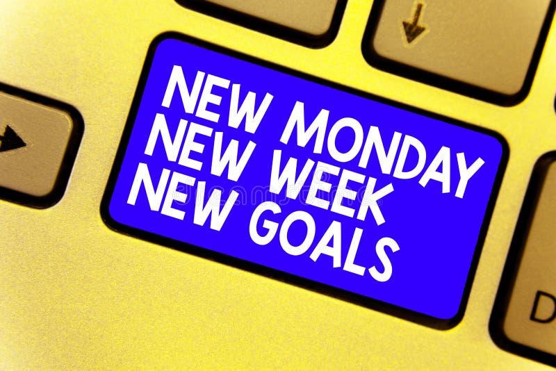 Redacte metas de la nueva semana de lunes del texto de la escritura las nuevas nueva El concepto del negocio para sea positivo ca imágenes de archivo libres de regalías