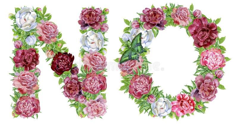 Redacte NO de las flores de la acuarela ilustración del vector