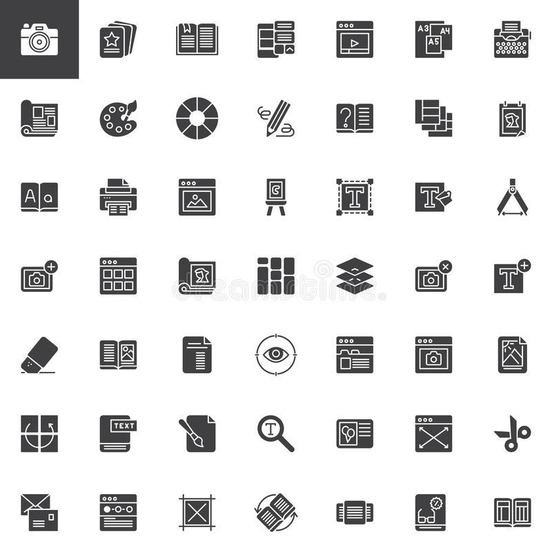 Redactie geplaatste elementen vectorpictogrammen royalty-vrije illustratie