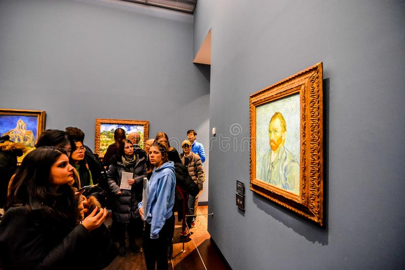 Redactiebeeld van het Romantische die Museum van Orsay in Parijs in datum 25 december 2018 wordt genomen royalty-vrije stock afbeeldingen