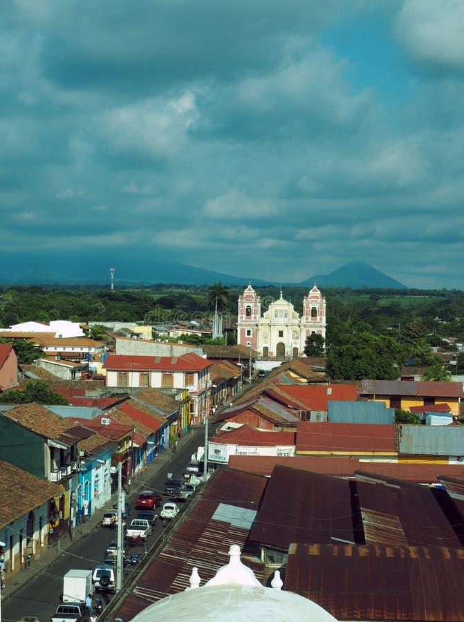 Redactieleon nicaragua-panorama royalty-vrije stock afbeeldingen