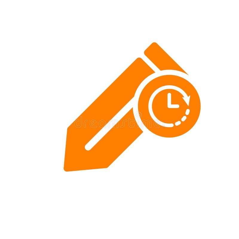 Redaguje ikonę, ikonę z zegaru znakiem, narzędzi i naczyń Redaguje ikonę i odliczanie, ostateczny termin, rozkład, planistyczny s ilustracji