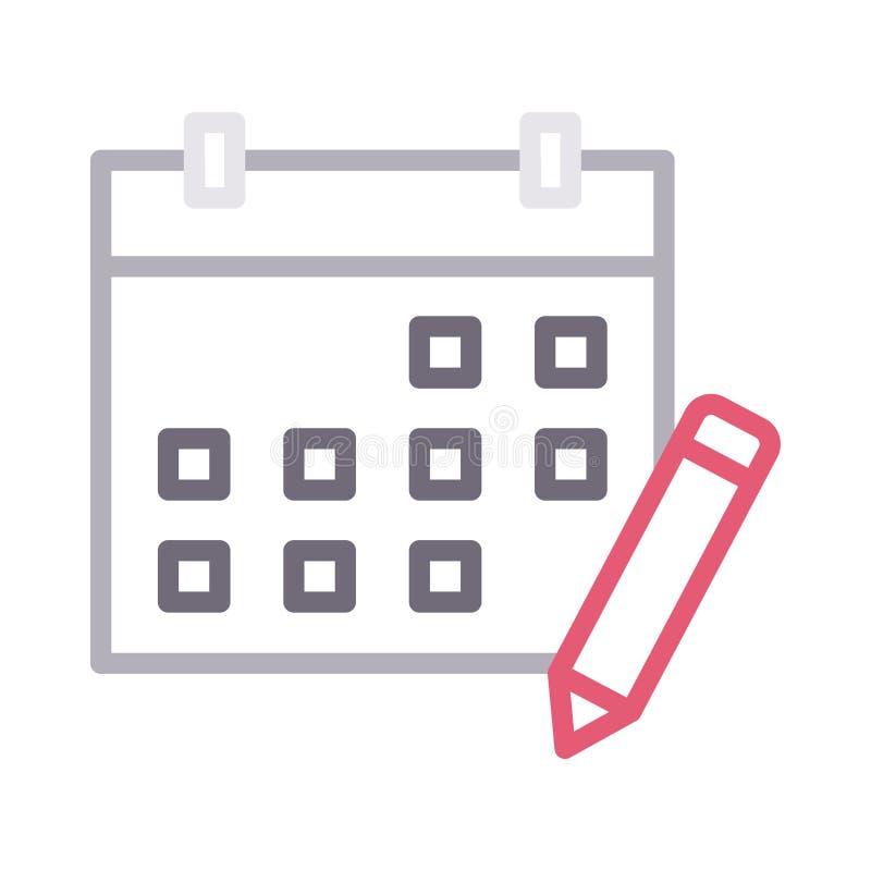 Redaguje kalendarza koloru linii wektoru cienką ikonę ilustracji