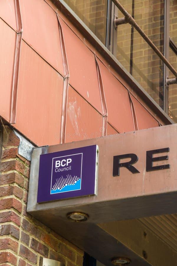 Redaktörs-, BCP Bournemouth, Christchurch och det Poole rådet, skapade April 1 2019 på mars 30 2019 royaltyfria foton