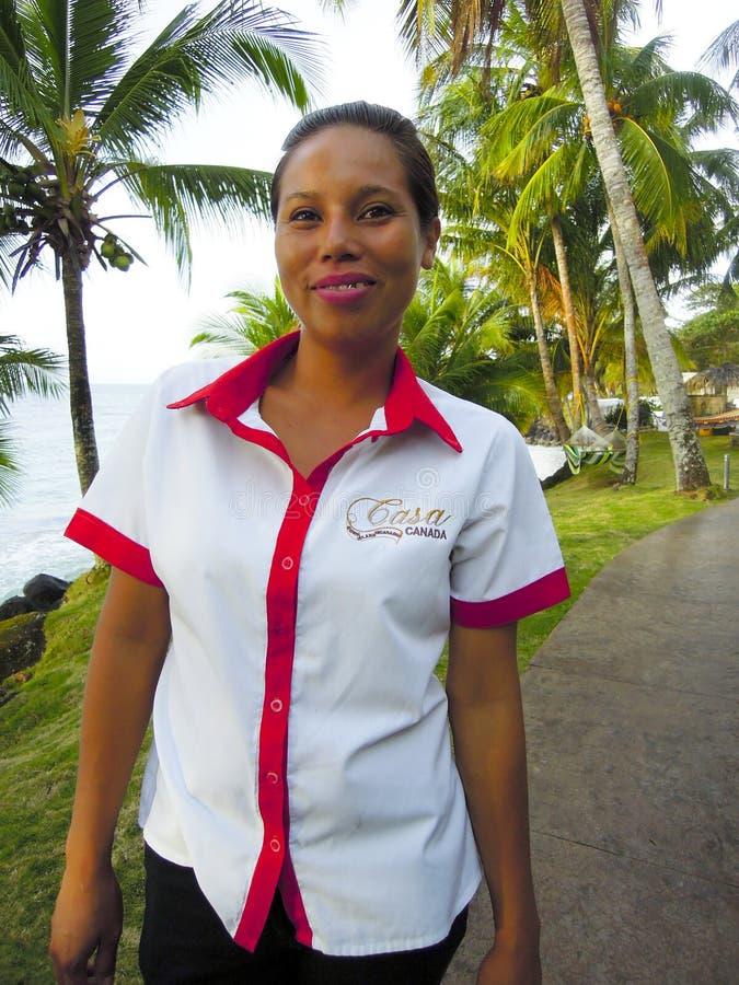 Redaktörs- servitris Corn Island Nicaragua arkivfoton
