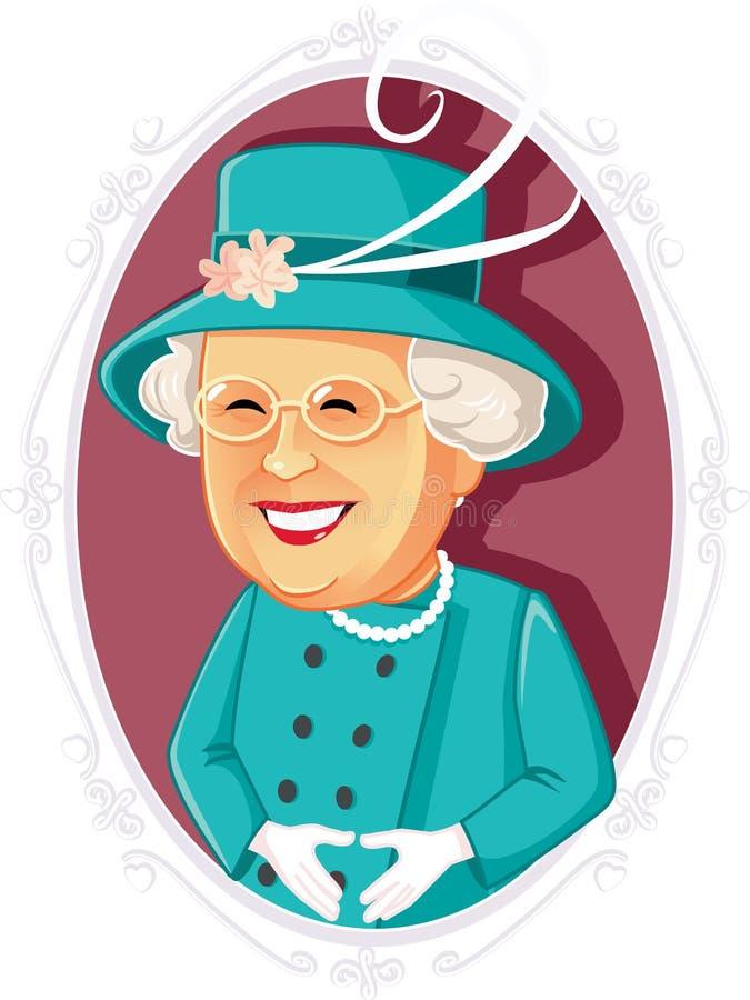 Redaktörs- vektorkarikatyr för drottning Elizabeth II vektor illustrationer
