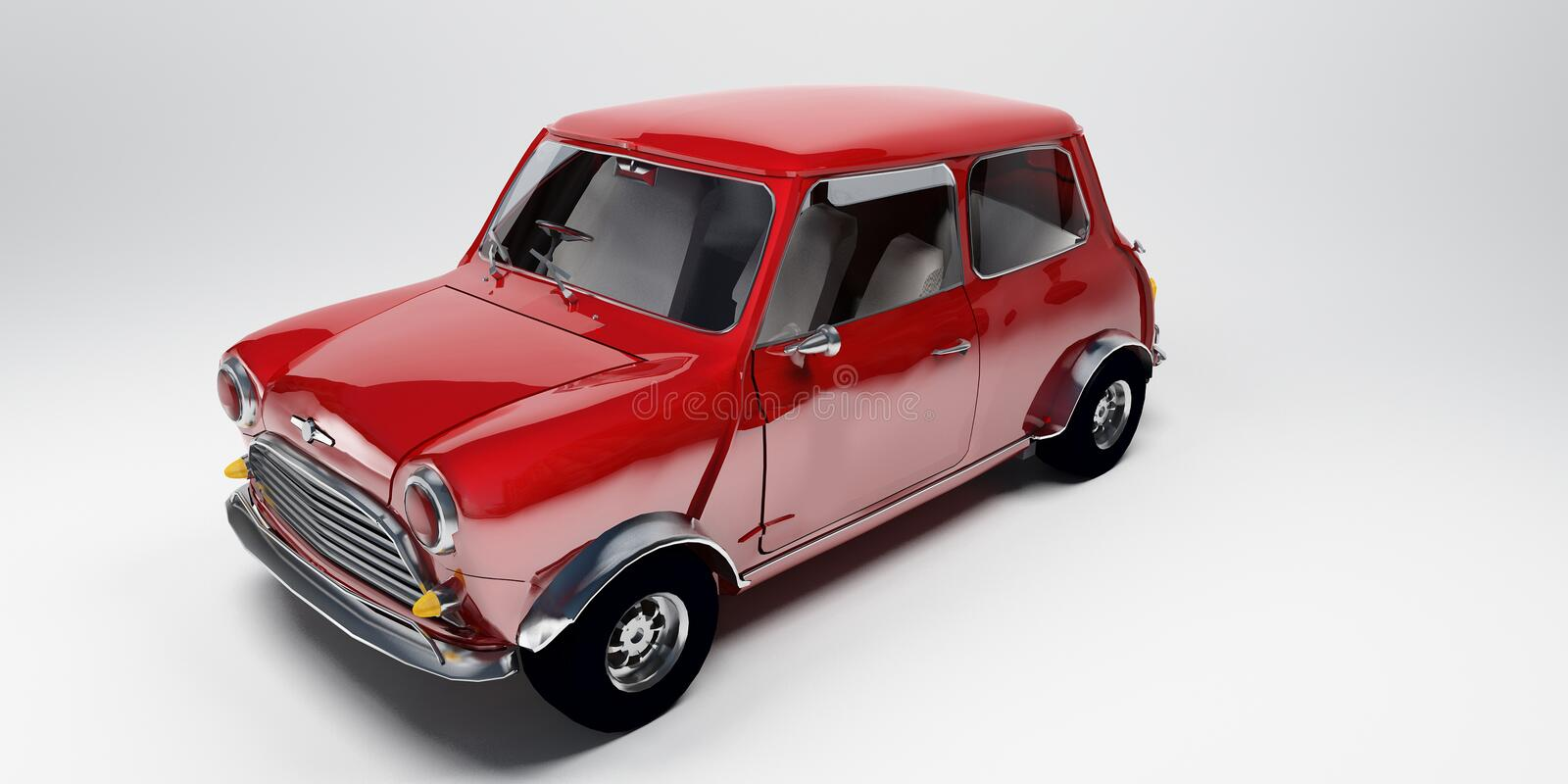 Redaustin. Engligh Red car austin mini royalty free stock images