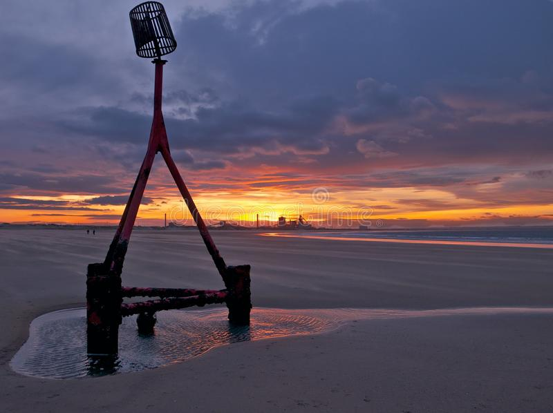 Redcar Beach Sunset Royalty Free Stock Photography