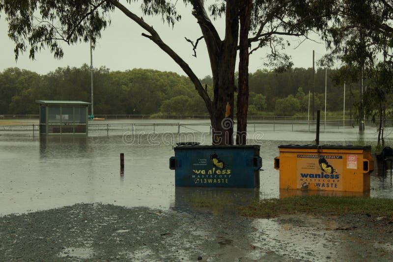 Redcliffe AFl Club underwater. BRISBANE, AUSTRALIA - JAN 25 : One year on Brisbane flooding again, Redcliffe Peninsula Australian Football Club underwater royalty free stock photography