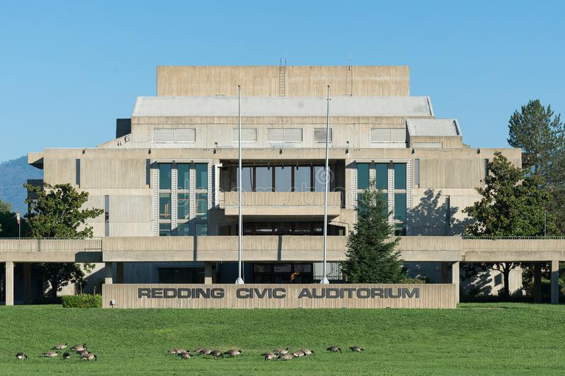 Redding Civic Auditorium. Exterior of the Redding Civic Auditorium on Auditorium Drive in Redding California royalty free stock image