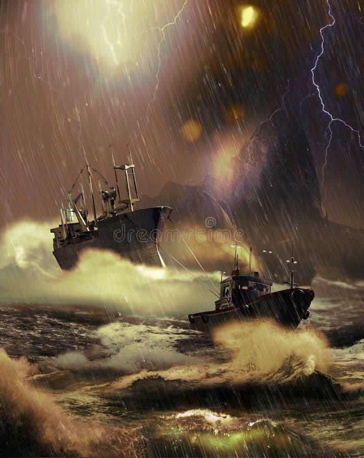 Redding onder het onweer royalty-vrije illustratie