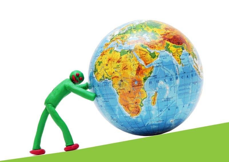 Redding van een omkomende planeet door de persoon stock afbeelding
