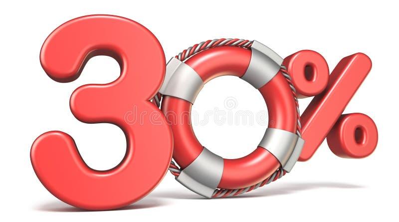 Reddingsboei 30 3D percententeken vector illustratie